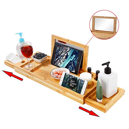 Bath Tray for Tub, Adjustable Bathtub Tray with Extending Side,Bathtub Caddy with Mirror, Book Tablet, Wineglass Holder and Towel Holder, Bamboo
