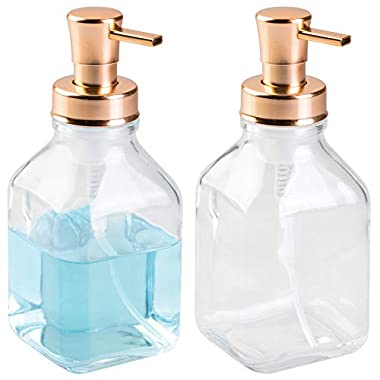 mDesign Foaming Glass Soap Dispenser Pump Set for Kitchen Counter, Sink - Pack of 2, Clear/Copper