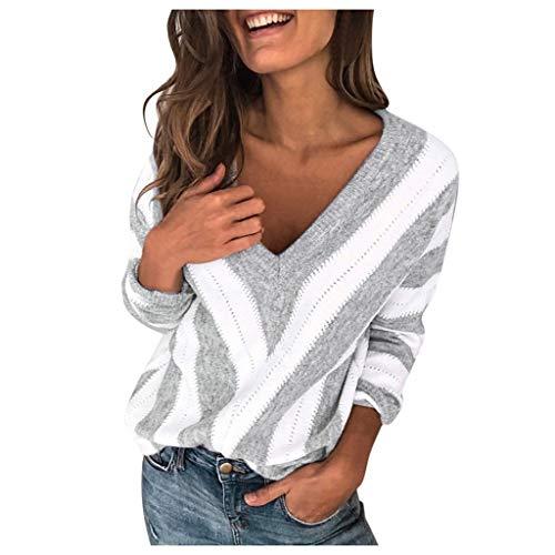 Femme Hiver Pull Pas Cher A La Mode Chaud Col V en Tricot Chandail Chemises à Manches Longues Sexy Solide Sweater Pullover Blouse (M, Gris)