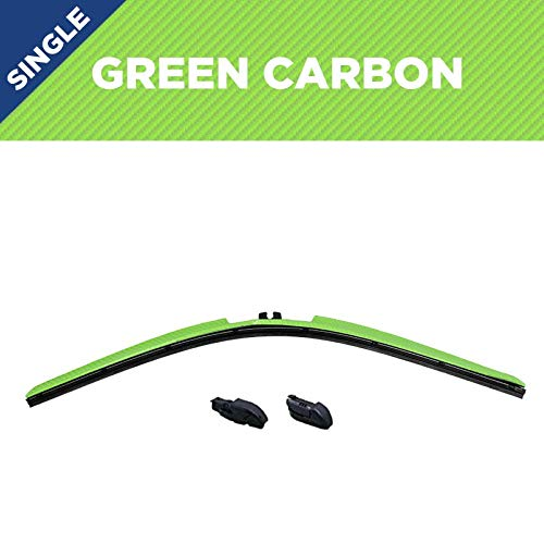 Clix Wipers - Green Carbon Fiber Automotive Wiper Blades - Universal Clip On Replacement Windshield-Wipers - All-Weather - Single Blade (20')