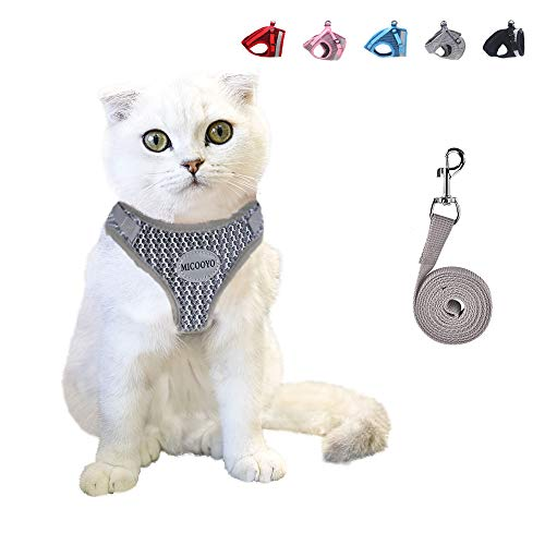 MICOOYO Cat Harness and Leash Set for Walking Escape Proof,Reflective Dog Harnesses for Small Dog,Adjustable&Comfortable Vest (M (Chest: 13.7