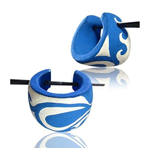 Chic-Net madera azul pendientes de aro blanco Pin-Pin Pendientes Aros olas pintadas a mano de madera Cuerno Pin 16 mm