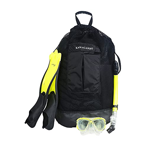 Kawagarbo Scuba Diving Bag - Large Mesh Travel Backpack for Scuba Diving and Snorkeling Gear & Equipment Heavy Duty Mesh Dry Bag Holds Mask, Fins, Snorkel, and More