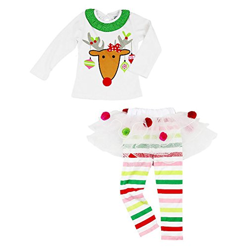 Traje Niña Navidad Conjunto Navideño para Bebé Recién Nacida con Vestido/Camiseta de Manga Larga + Pantalones Largos con Diadema/Babero Ropa Invierno de Algodón y Tul Baby Girl (0-6 Años)