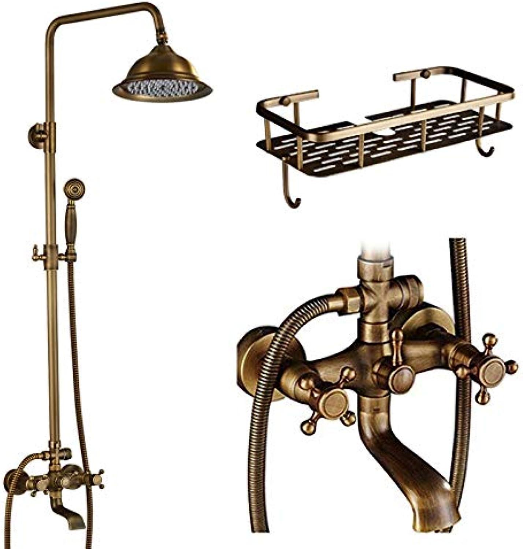 LWSFZAS Duschset Wasserhahn Doppelgriff Badezimmer Regendusche Mischbatterie Wandmontage 8 Messing Regen DuschkopfDusche WasserhahnDusche Wasserhahn C