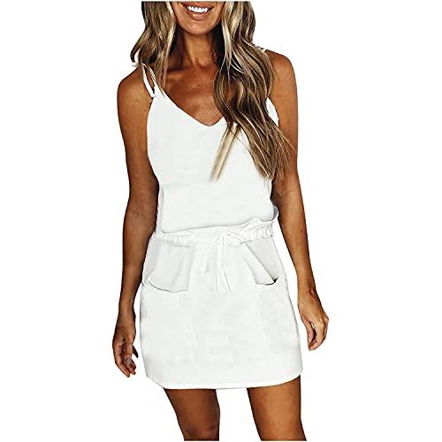 XWANG Vestido largo de verano para mujer, a rayas, sin mangas, para verano, con hombros, para la playa, sin mangas, con rayas