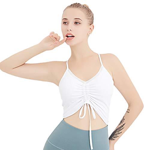 KAIWM Sujetador Deportivo para Mujer, Chaleco De Moda con Cordón, Chaleco Multifuncional para Interiores Y Exteriores,Blanco,XL