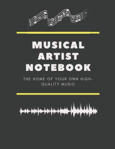 Musical Artist Notebook: Music Sheet,Black Covers,Composition Notebook,College Ruled Paper,120 Sheets,size 8.5 x 11
