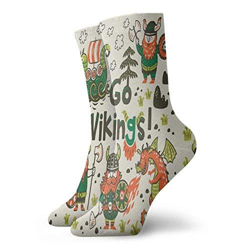 Adamitt Dumme Wikinger Menschen mit Drachen Unisex Crew Mode Neuheit Socken Kleid Socken Lustige Socken