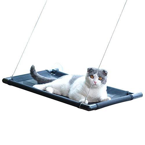 Katzenliege Fensterplatz Katzenbedarf Katzenstreu Katzenbedarf Nest Fensterbank Hängebecher Saugbedarf Katzenbett Katzen Klettergerüst Katzenhängematte Pet Perch (Farbe : Schwarz, Größe : 60x40cm)