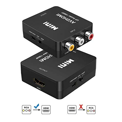 RCA to HDMI Converter, 3RCA Composite CVBS AV to HDMI Video Audio Adapter, Support 1080P for PC...