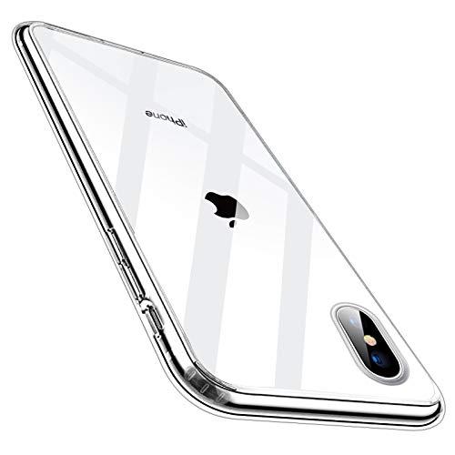 Whew Crystal Clear iPhone X/iPhone XS Hülle, Ultra Transparent Hard PC Back und Soft Silikon iPhone X/iPhone XS Handyhülle Vergilbungsfrei Durchsichtig Schutzhülle Kratzfest Stoßfestigkeit Slim Case