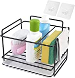 BLACKDOTT Kitchen Sink Caddy on Coutertop Adhesive Sponge Holder Soap Brush Organizer Rack with Drain Pan, Dishwasher Liquid Shower Gel Storage Rack for Kitchen and Bathroom