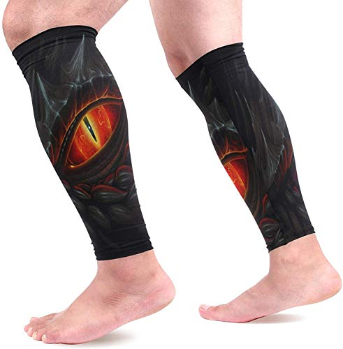 Bikofhd Glowing Red Eye Black Dragon Painting Sports Calf Support Sleeves (1 Pair) for Muscle Pain Relief Improved Circulation Compression Effective Support for Running Jogging Workout Fashion4067