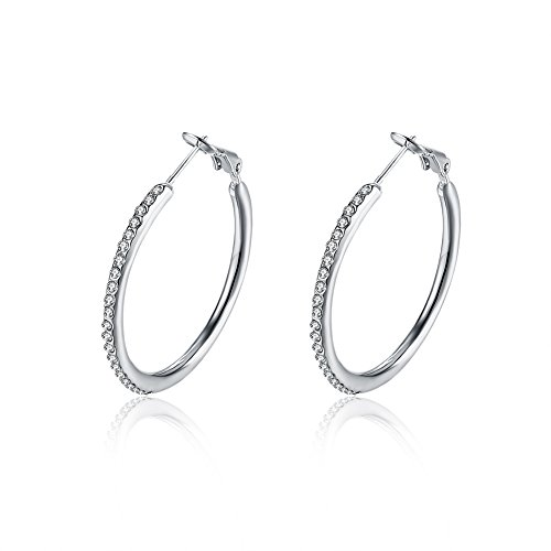 Fajewellery Creolen mit AAA Zirkonia Ohrringe Rose Gold/Platin Überzogen Groß Ohrringe für Damen 3.5cm