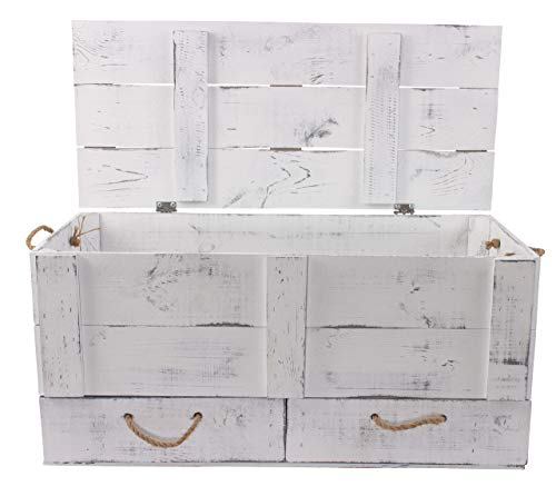 Obstkisten-online 1x Vintage TRUHE - Holztruhe mit Deckel inklusive Zwei Schubladen, mit Kordeln als Griffe - NEU - 85,5x42x43,5 cm - für Decken usw - 2