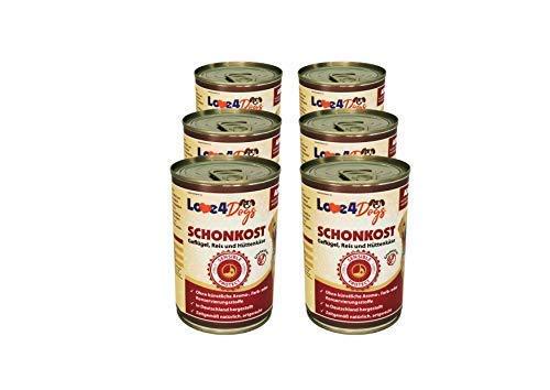 Love4Dogs Premium SCHONKOST Geflügel mit Reis und Hüttenkäse 6x400g Durchfall/Magen-Darm