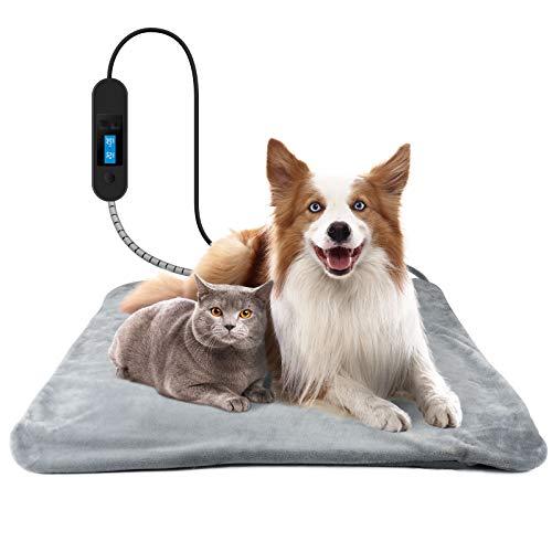 Vorrot Haustier Heizmatte, Heizkissen für Hund Katze, Wasserdicht Heizdecke Timing Temperatur Einstellbar, 50x50cm Elektrisch Wärmematte für Neugeborene/Altere/Haustier…