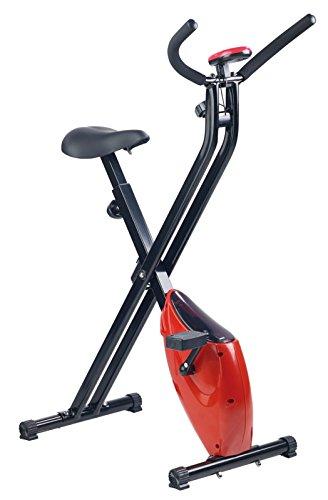 PEARL sports Klapp Heimtrainer: Klappbarer Heimtrainer mit Trainings-Computer, 1,6 kg Schwungmasse (Heimtrainer Fahrrad klappbar)