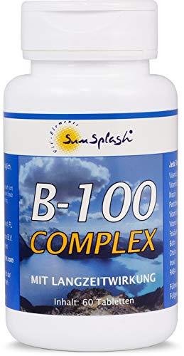 SunSplash B-100 Complex met langetermijneffect, 60 tabletten, hoge dosis voor 2 maanden