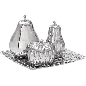 Urban Designs Ceramic Lattice Fruit Bowl Centerpiece Silver