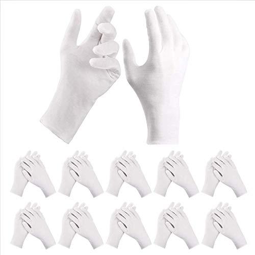 DazSpirit 10 Paar Weiße Handschuhe, Größe XL, Stoff Baumwoll Handschuhe Weiss Atmungsaktiv für Hautpflege, Inspektion Schmuck Untersuchen, Tägliche Arbeit Dehnbares Innenfutter Handschuh