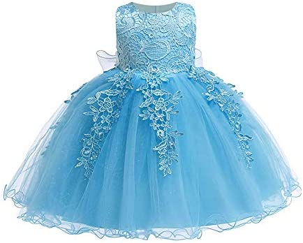 LZH Baby Girls Formal Dress Bowknot Birthday Wedding Party Flower Lace Dress 5801 Blue 18M product image