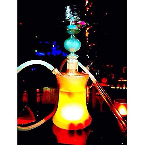 Russische große Glas-Wasserpfeife / 50-cm-LED-Wasserpfeife/Licht kann eine Vielzahl von Farben ändern (Set enthalten) Glasschale, hochwertiges Silikonstroh, Fernbedienung, LED-Licht