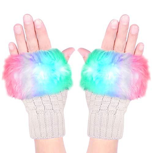 Luwint LED Glow Blink Fur Fingerless Knit Gloves - Funny Light Up Mitten for Party Christmas Halloween Costume
