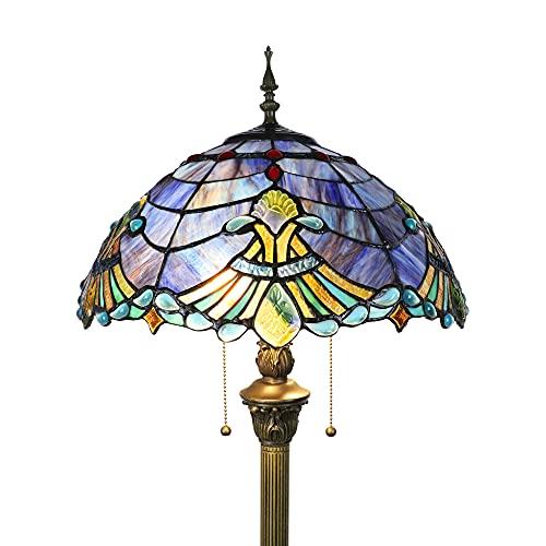 Tokira Tiffany azul lámpara de pie grande vintage para sala de estar, lámparas de lectura altas de 64 pulgadas, pantalla de vitrales de estilo barroco de 16 pulgadas, 2 bombillas LED gratis
