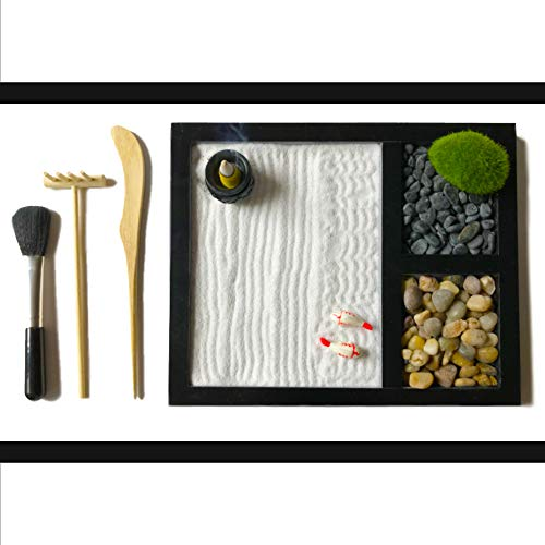 ActiveBliss Zen Garden for Desk with 3 Essential Garden Tools, 2 Types of Rocks, Zen Sand, Incense...