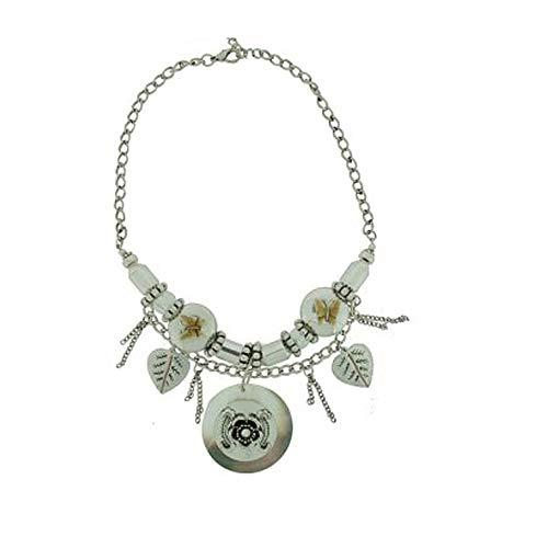 behave Zilverkleurige ketting met hangers, boho-halsketting met parels en hanger, statement halsketting voor vrouwen