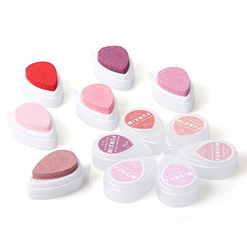 Funxim Stempelkissen (6er Set) Rosa Fingerabdrücke Set, zum Papier Handwerk Stoff Malerei Basteln und zum kreativen Gestalten