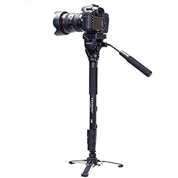 Yunteng VCT-288 Photography Tripod Monopod WIth Fluid Pan Head Quick Release Plate And Unipod Holder for Canon Nikon DSLR Cameras