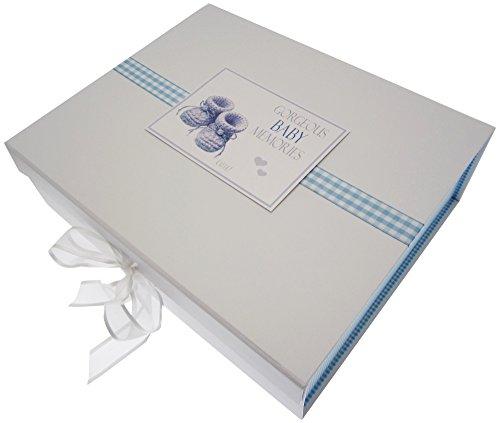 White Cotton Cards Gorgeous Baby souvenirs, grande boîte souvenir, chaussons, Bleu