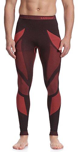 Ladeheid Herren Funktionsunterwäsche Lange Unterhose Thermoaktiv (Schwarz/Rot, L)