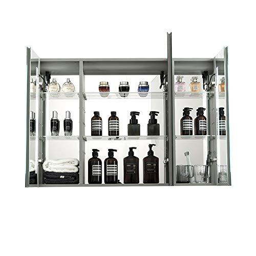 JOMSK Armadio di Stoccaggio LED encendió botiquín del baño, Medicina de Aluminio del gabinete con Espejo, Triple Puerta Tri-Vista Gabinete (Color : Silver, Size : 100x70x14cm)