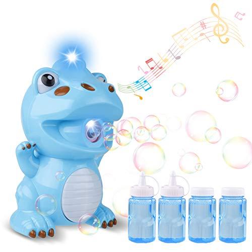 Seamuing Maquina Burbujas para Niños, Soplador de Pompas de Jabón Duradero Dinosaur Maquina Pompas Jabon Automatico Regalos para Niños (2 Botellas de Solución de Burbujas)
