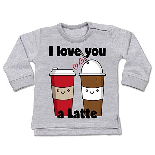 Valentinstag Baby - I Love You a Latte schwarz - 6/12 Monate - Grau meliert - BZ31_Baby_Pullover - BZ31 - Baby Pullover