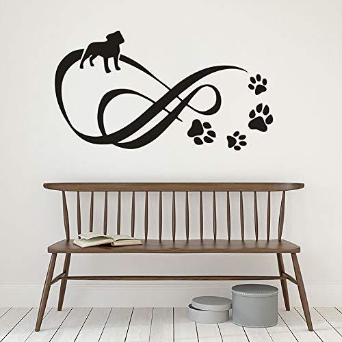 ASFGA Etiqueta de Vinilo de Pata de Perro Infinita con Etiqueta de Pared de Pata de Mascota decoración de salón de Mascotas Pintura de Pared de Huella de Mascota extraíble 104x57 cm