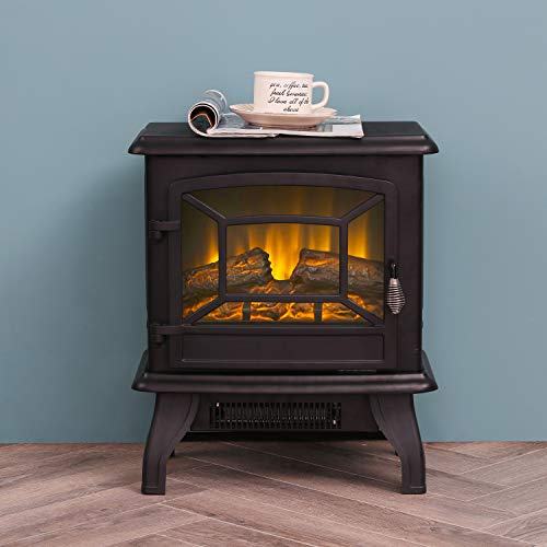 "LOKATSE HOME 17"" Electric Fireplace Space Stove Heater Freestanding with Realistic Flame, 2 Heat Modes, 1400W Ultra Strong Power, Overheating Safety Protection, 17 inch 1400W electric Fireplace Fireplaces flame Freestanding heat heater Home"
