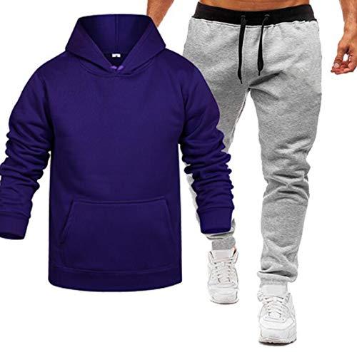 Conjunto de suéter deportivo de color puro, con capucha, morado, XL