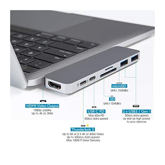 """HyperDrive USB C Hub, Sanho USB-C Duo 7-in-2 for MacBook Pro Air, Magnetic Grip HDMI 4K60Hz HDR 100W PD 40Gbps USB 3.1 3 Historical most crowdfunded Macbook accessory on Kickstarter and Indiegogo. World's Most Compact and Fastest USB C Hub specifically designed for MacBook Pro and MacBook Air.(Dual-USBC-port design on USB-C hubs is HyperDrive' PATENT.) Dual USB-C Data & Power Delivery: HyperDrive is the only MacBook Pro/Air USB C hub with two USB-C ports that support Power Delivery (PD) & Data (40Gbps/max 100W/5K video output + 5Gbps/max 60W). Expand the two USB-C ports on MacBook Pro/Air into 7 ports (High-Resolution 4K HDMI, 40Gb/s USB-C, 5Gb/s USB-C, SD, microSD, 2 x USB 3.1). HyperDrive DUO 7-in-2 USBC Hub is compatible with MacBook Pro 16"""" 2019 2018 2017 2016 13""""/15"""" and MacBook Air 2019 2018."""
