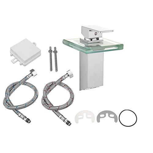 Yue668 - Grifo de cristal para grifo de lavabo de baño de color LED grifo de cocina mezclador de lavabo metálico desmontable grifo de cocina