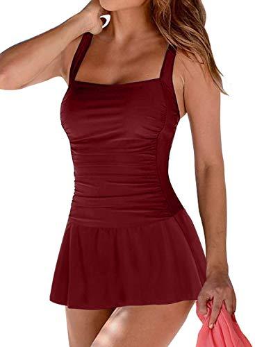 Arainlo - Bañador de una pieza con falda para mujer, estilo retro, con control de barriga, estilo retro Rojo granate 34-36