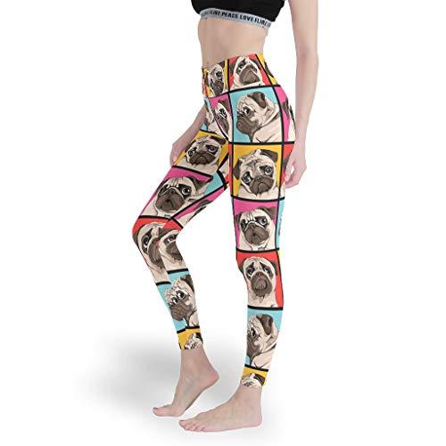 zhangcr Pantacourt transparent tendance imprimé numérique, pour chien, femme, pantalon de yoga minceur élastique pour entraînement, sport, blanc XS