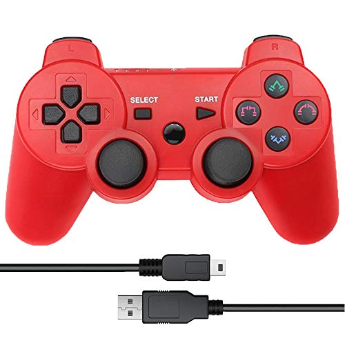 CelebFuny PS3 Controller Wireless Playstation 3 Controller Double Vibration for PS3 with Charging Cable (Red)