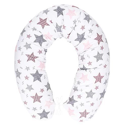 Stillkissen mit Füllung für klein Baby Lagerungskissen Baby Seitenschläferkissen Schwangerschaftskissen zum Schlafen Baumwolle inkl. Bezug Größe 170cm Pregnancy Pillow Sternschnuppe Rosa