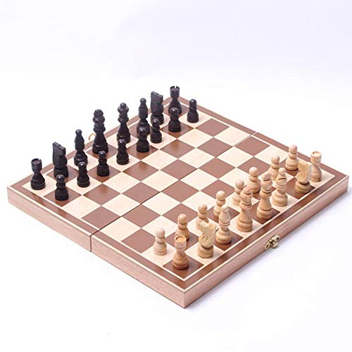 Tablero de rompecabezas de madera plegable magnético con tablero plegable portátil, juego de ajedrez magnético, juego de mesa, adecuado para niños y adultos, 30 × 15 × 34.5cm