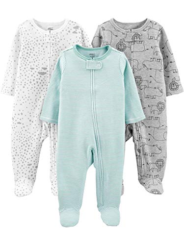 Simple Joys by Carter's Baby 3-Pack Neutral Sleep and Play, Mint/Stripes/Heather Grey/Prints, Newborn